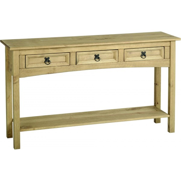 Corona Rustic Light Waxed Solid Pine Console Side Hall Table with Three Drawers
