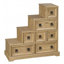 Corona Distressed Light Waxed Solid Pine Rustic CD DVD Accessories Storage Unit Staircase