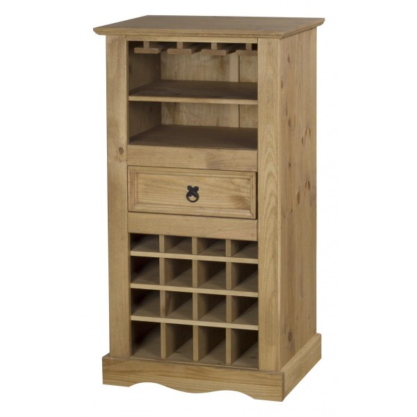 Corona Distressed Light Waxed Solid Pine Drinks Cabinet Wine Rack Storage
