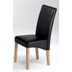 Cyprus Dining Kitchen Chairs Black Leather Solid Ashwood Legs - Pack of Two