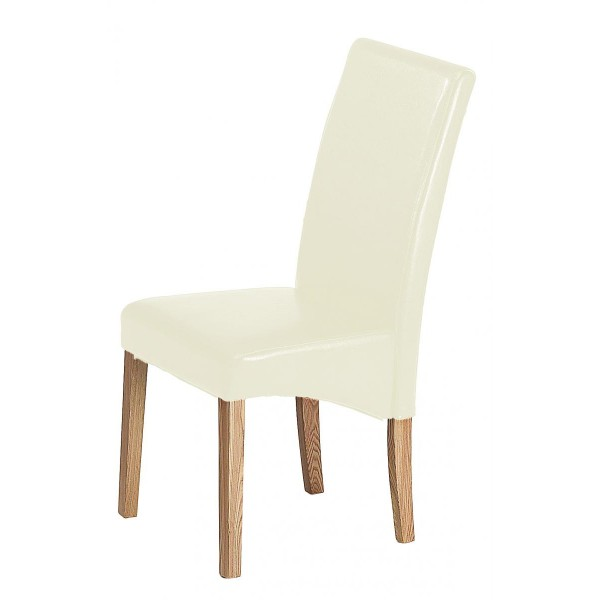 Cyprus Dining Kitchen Chairs Cream Leather Solid Ashwood Legs - Pack of Two