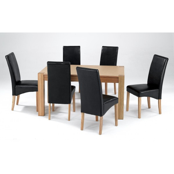 Cyprus Dining Kitchen Table Set Solid Ashwood Six Black Leather Chairs