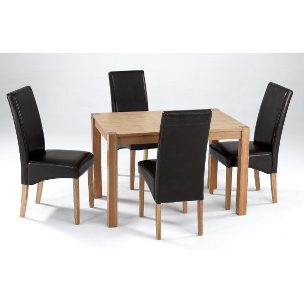 Cyprus Dining Kitchen Table Set Four Black Leather Chairs Solid Ashwood