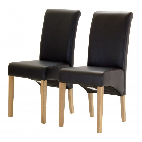 Havana Dining Chairs Black Leather Solid Light Oak Legs - Pack of Two