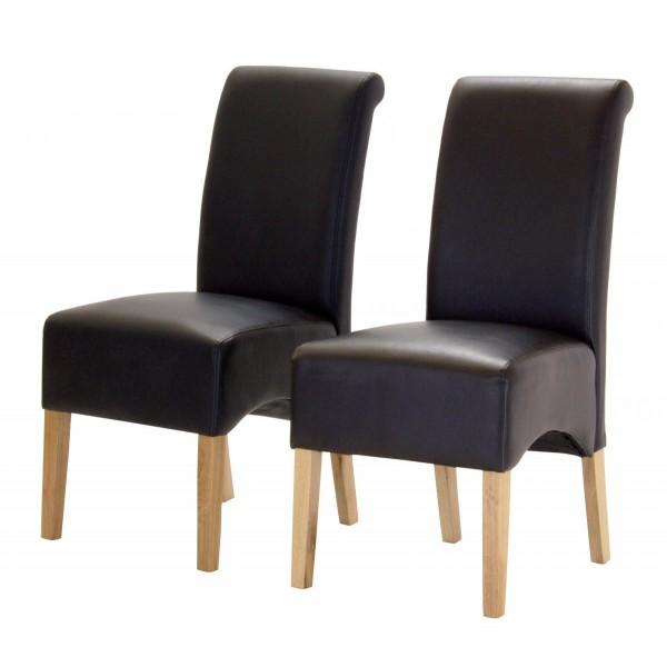 Two Hilton Black Leather Dining Chairs with Light Oak Legs