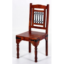 Two Jaipur Solid Acacia Rustic Antique Dining Chairs