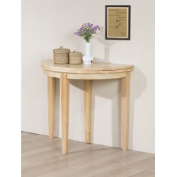 Lunar Folding Round Semi Circle Lamp Side End Hall Dining Table - Natural Finish