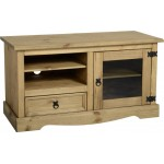 Corona Distressed Solid Pine Light Waxed TV Cabinet Entertainment Unit