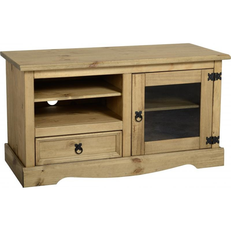 Corona Distressed Solid Waxed Light Pine TV Cabinet