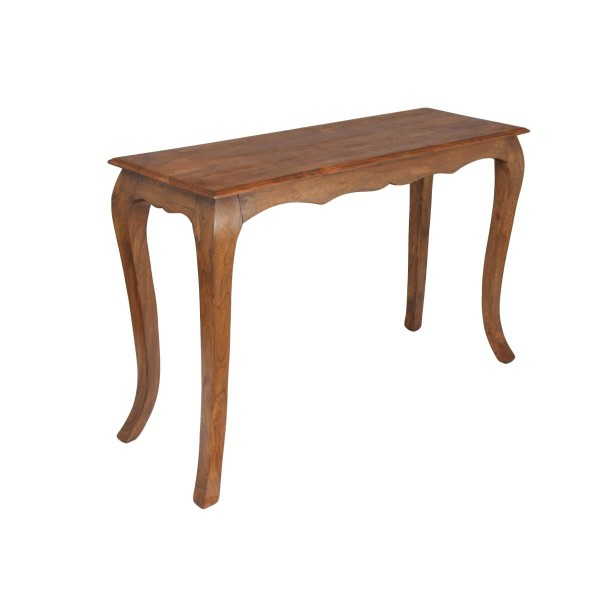 Marseille Solid Acacia Traditional Rustic Console Table - Burnt Oak Finish