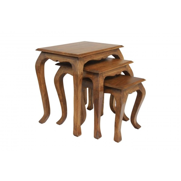 Marseille Solid Acacia Traditional Rustic Nest of Tables - Burnt Oak Finish