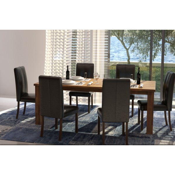 Parkfield Solid Acacia Large Dining Table with Six Leather Chairs