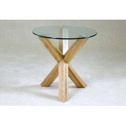 Saturn Round Clear Glass Lamp Side End Table Solid Oak Legs