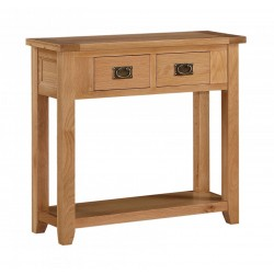 Stirling Solid Oak Console Hall Side Table Two Drawers