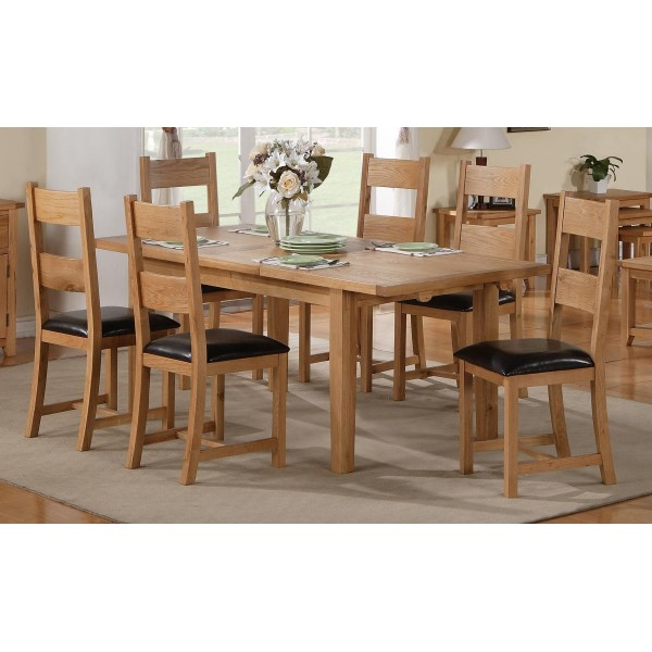 Stirling Solid Oak Large Extending Dining Table Set with Six Chairs