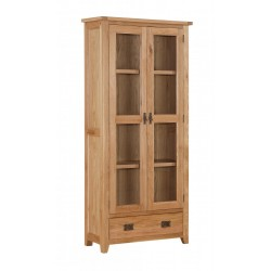 Stirling Solid Oak Tall Display Cabinet Unit