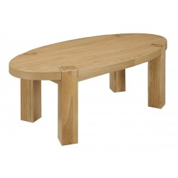 Zeus Solid Oak Oval Coffee Table - Light Oak Finish