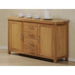 Zeus Solid Oak Sideboard Buffet Cupboard Storage Unit - Light Oak finish