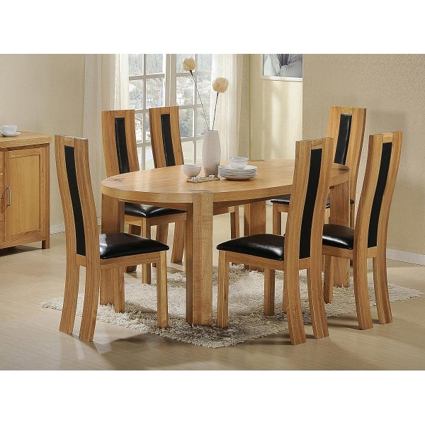 Zeus Solid Oak Oval Dining Table with Six Chairs - Light Oak Finish
