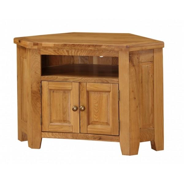 Acorn Corner TV Stand Entertainment Cabinet Solid Oak Assembled