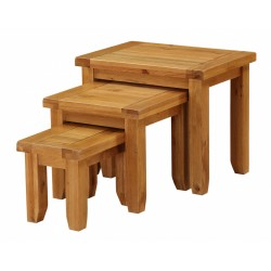 Acorn Solid Oak Three Piece Nest of Tables