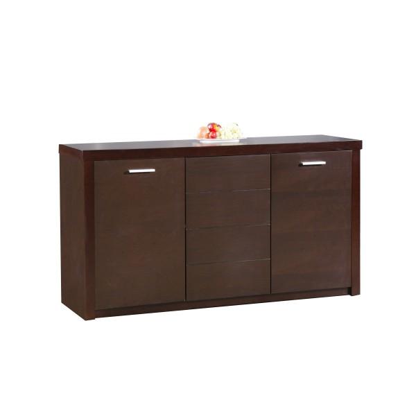 Baltic Sideboard Cupboard Buffet Solid Beech Dark Walnut Finish
