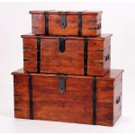 Jaipur Solid Acacia Rustic Antique Three Piece Storage Trunk Set