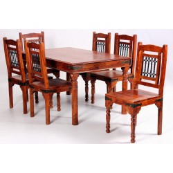 Jaipur Solid Acacia Rustic Antique Dining Table Six Chairs