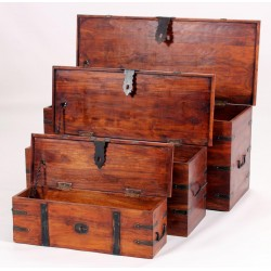 Jaipur Three Piece Storage Trunk Set Solid Acacia Rustic Antique Indian Furniture