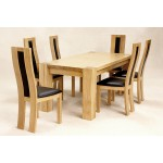 Zeus Solid Oak Dining Table with Six Chairs Rectangle Top - Light Oak Finish