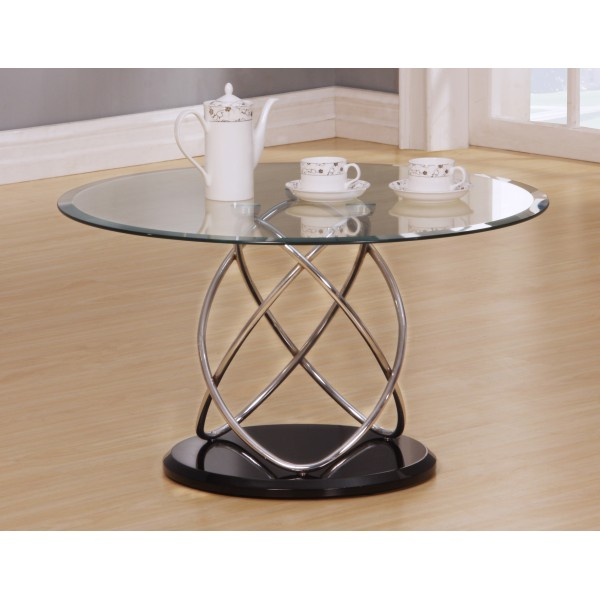 Eclipse Clear Glass Round Coffee Table with Chrome Spiral Frame