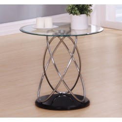 Eclipse Clear Glass Lamp Side End Table With Chrome Spiral Frame