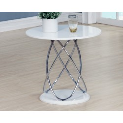 Eclipse White Gloss Lamp Side End Table With Chrome Spiral Frame