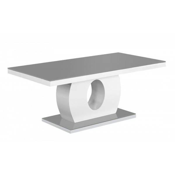Olivial Coffee Table Grey Glass with White Gloss Frame