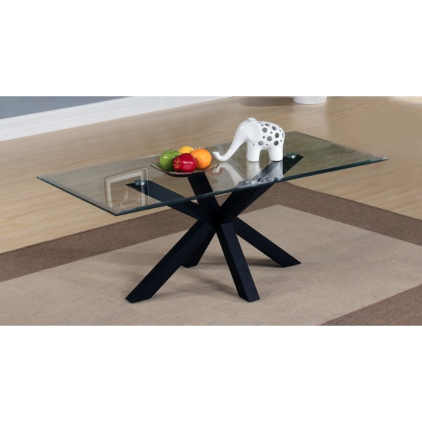 Langley Coffee Table Clear Glass Top Black Base