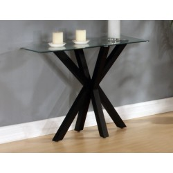 Langley Console Hall Side Table Clear Glass Black Base