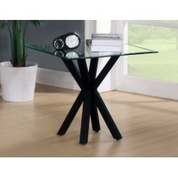Langley Clear Glass Top Black Base Lamp Side End Table