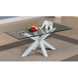 Langley Coffee Table Clear Glass Top White Base