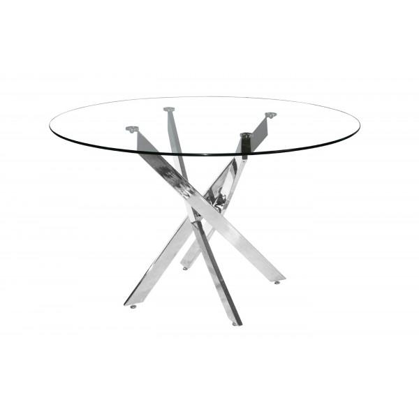 Samurai Dining Kitchen Table Round Clear Glass 120cm Chrome Legs