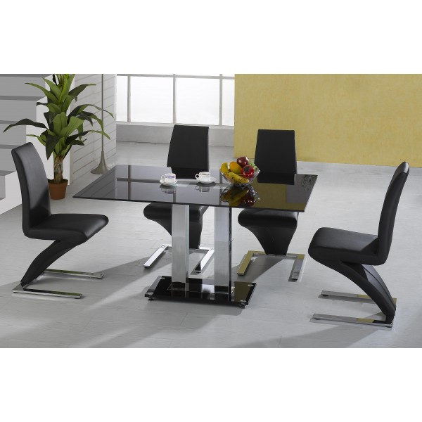 Trinity Kitchen Dining Table Set Square Black Glass Chrome Frame Six Black Leather Chairs