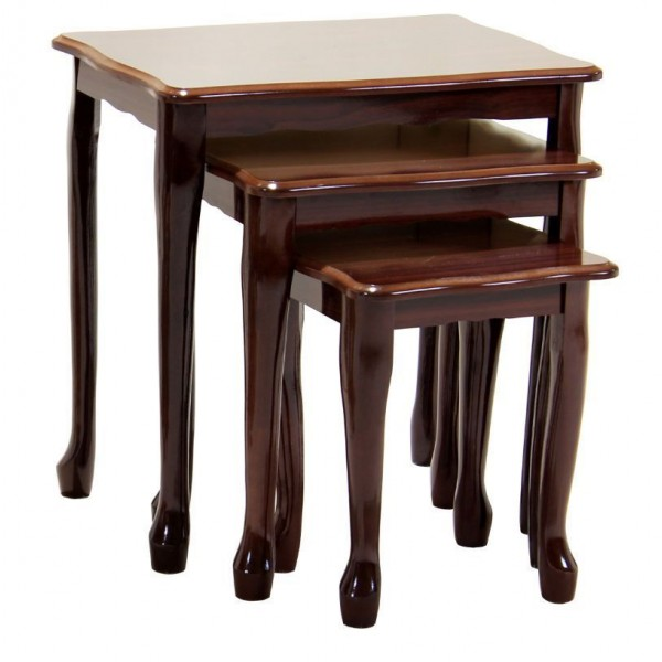 Queen Anne Traditional Mahogany Nest of Tables - Gloss Finish
