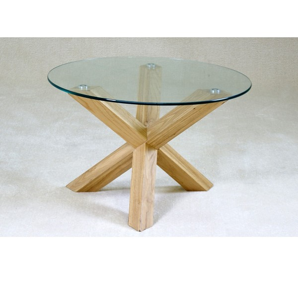 Saturn Round Clear Glass Coffee Table With Solid Oak Legs