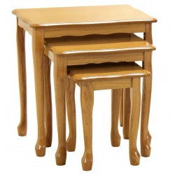 Queen Anne Traditional Golden Oak Nest of Tables - Gloss Finish