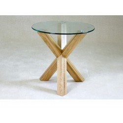 Saturn Round Clear Glass Lamp Side End Table With Solid Oak Legs