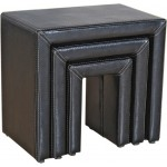 Odessa Black Faux Leather Nest of Tables