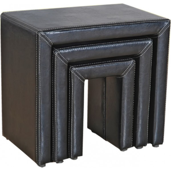 Odessa Black Leather Nest of Tables Lamp Side End Table