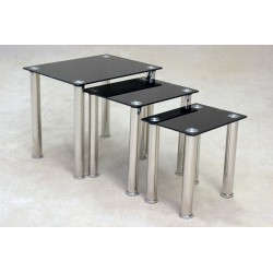 Togo Black Glass Nest of Tables