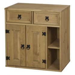 Corona Light Waxed Solid Pine Two Door Storage Cupboard Cabinet Display Unit