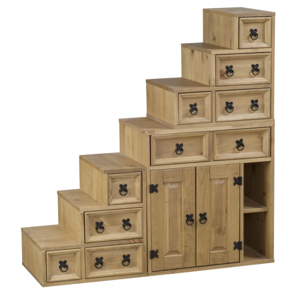 Corona Distressed Light Waxed Solid Pine Accessories Staircase Storage Unit & Cabinet