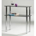 Hudson Black Glass & Chrome Side Table & Entertainment Stand